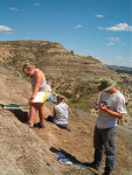 Montana State grad students mapping Conor's Microsite.