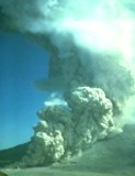 A pyroclastic flow stretches from Mount St. Helens' crater to the valley floor below.