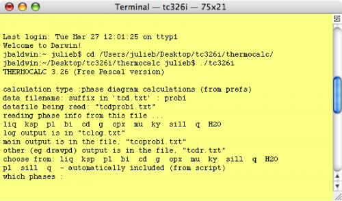 Screen shot of Terminal window