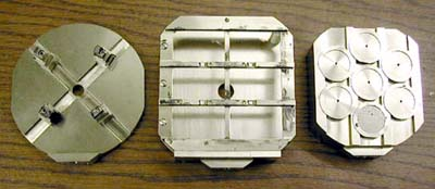 Picture of sample holders for a microprobe.