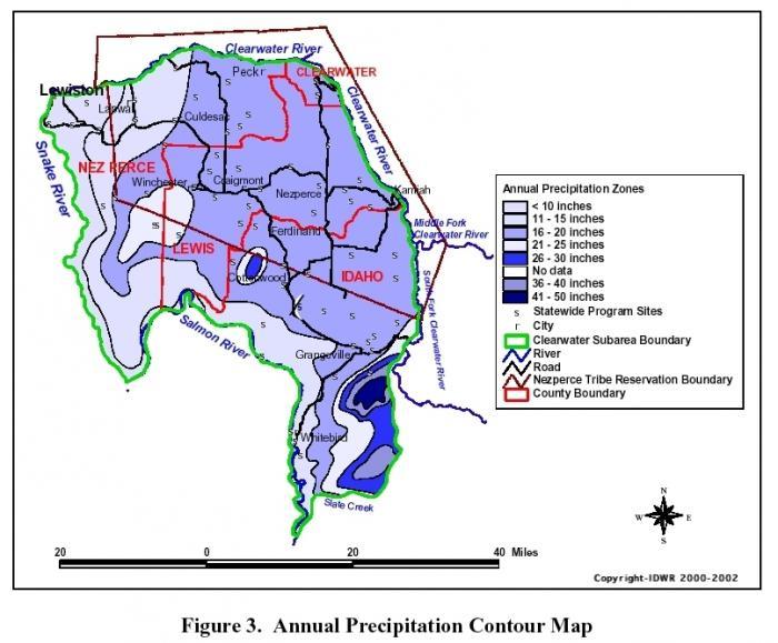countour map of average annual precipitation within the Clearwater Plateau.