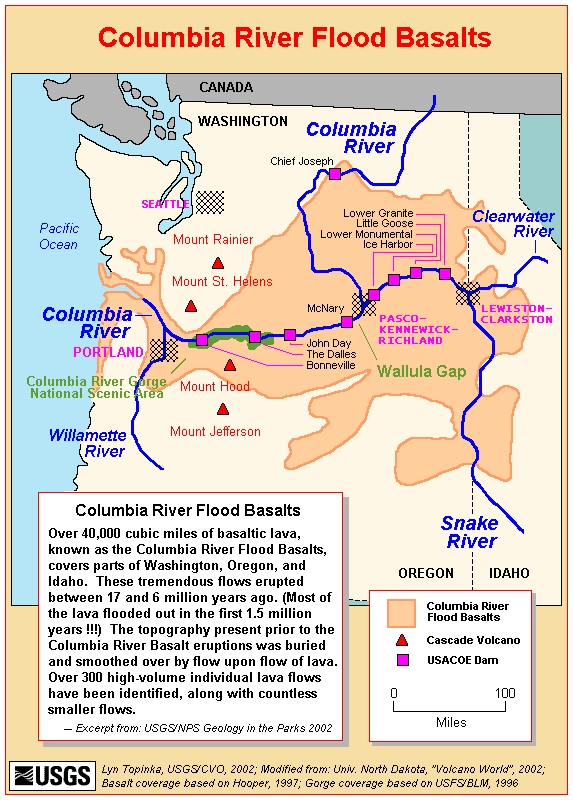 A map of the Columbia River Basalt Flows.