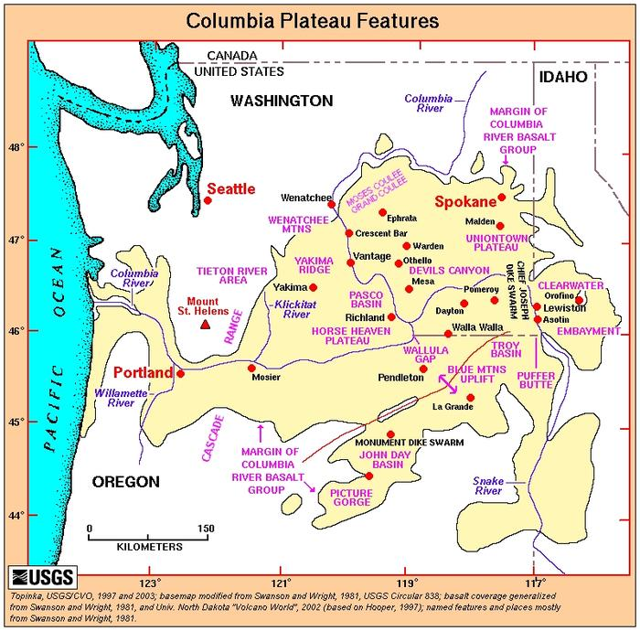 Map of the Columbia River Plateau Location.