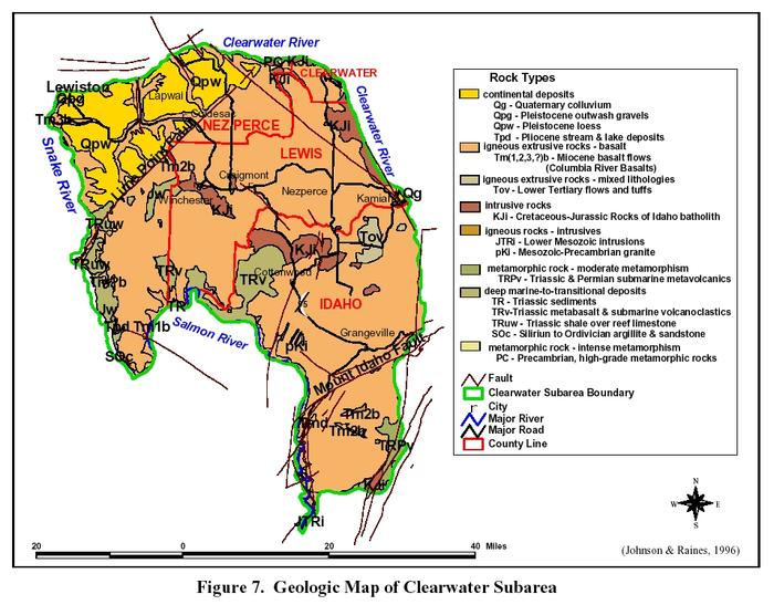 Map of the general geology of the Clearwater Plateau.