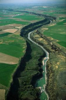 An aerial view of the Snake River Canyon, Idaho