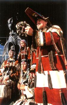 Aleut dancers in traditional ceremonial dress.