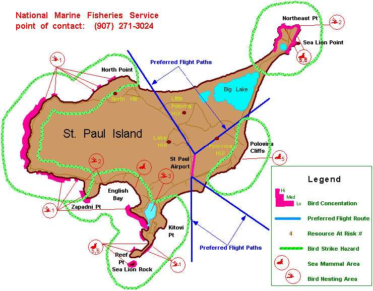 Map illustrating bird concentrations, bird nesting areas and sea mammal areas on St. Paul Island.