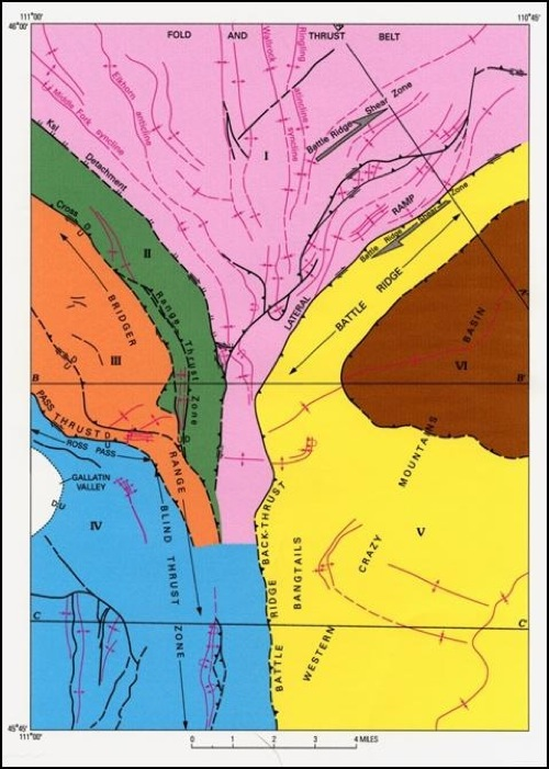 Generalized tectonic map of the northern Bridger Range.