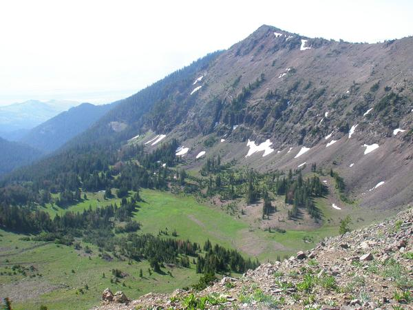 Hyalite Peak, trail to south