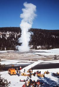 Winter visitors at Old Faithful, Yellowstone National Park.