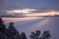 Sunset in winter over Yellowstone Lake.