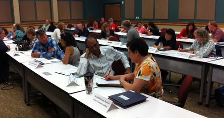 Participants interview each other to prepare for paired introductions at the 2013 SAGE 2YC workshop in Austin