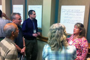 Participants at the 2013 SAGE 2YC workshop in Austin discuss strategies for incorporating geoscience career and transfer information in classes and in the curriculum