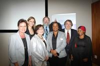 "Left to Right: Marietjie Potgieter, Bianca Verlinden, Karen Kashmanian Oates, Garon Smith, Debra Meyer, David Burns and Lungile ""Sunshine"" Sitole"