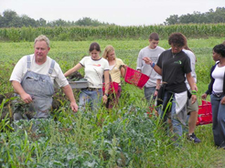 Students with Farmer in Field