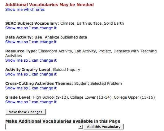 Screen shot of a the vocab editing interface