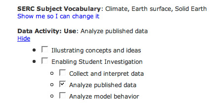 Screen shot of the list of vocab terms