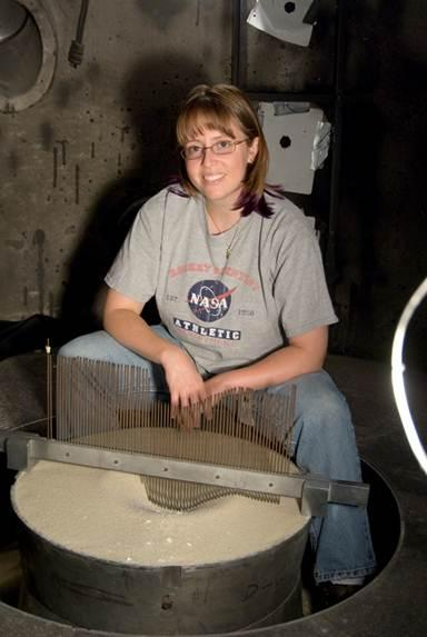 Jennifer Anderson in the NASA Ames Vertical Gun Range chamber.