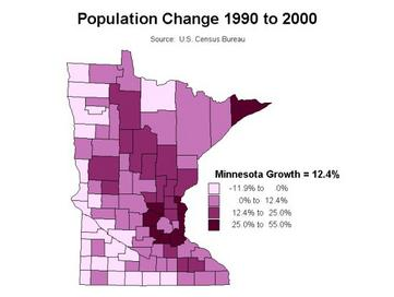 MN population growth by county