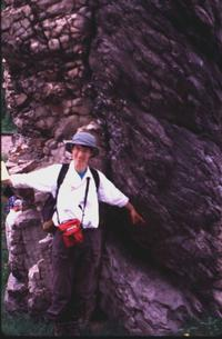 Carol Ormand in front of Van Hise Rock, Baraboo, WI