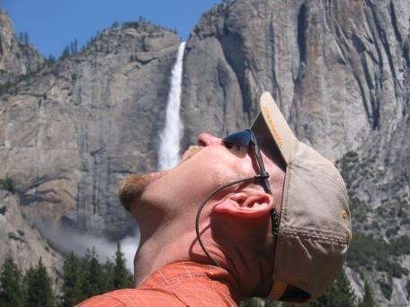 Thirsty Dr. Baker at Yosemite Falls