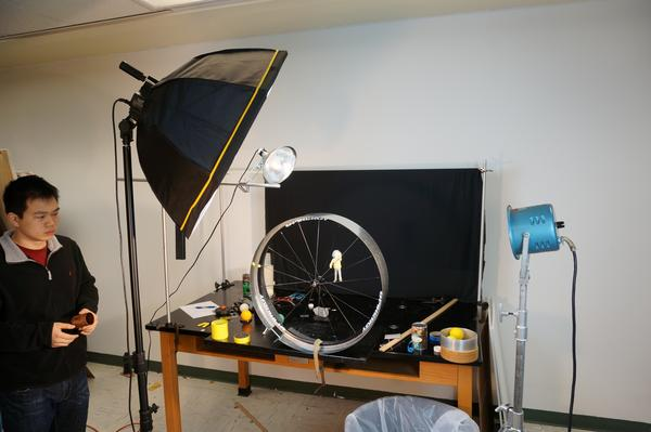 image of lighting for dry ice on a hoop video