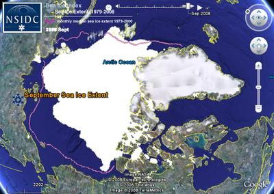 Arctic Sea Ice Extent in September, 2008