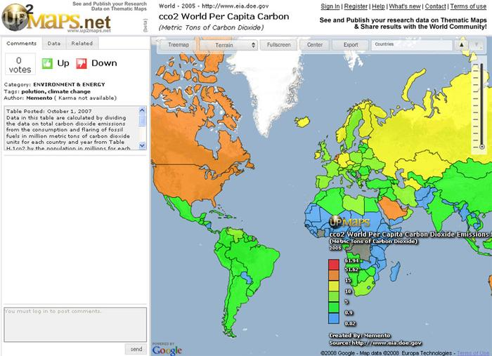 Up2Maps carbon dioxide emission map