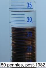 image of pennies in an graduated cylinder post1982v50