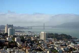 View to Golden Gate Bridge from Coit Tower, San Francisco
