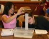 Students measuring water displacement