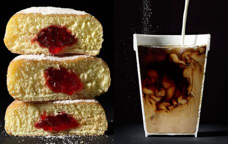 Slice through coffee and donuts