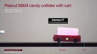 M&M collides with low friction cart