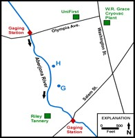 map of Aberjona River gaging stations