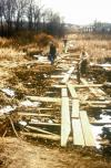 Boardwalk extending west of well H into the wetland built by the U.S. Geological Survey to access observation wells