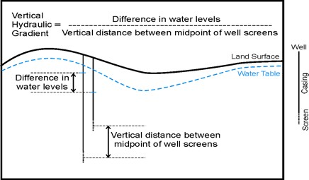 diagram illustrating how to determine the vertical hydraulic gradient