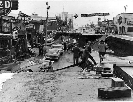 Alaska 1964 Earthquake damage in downtown Anchorage