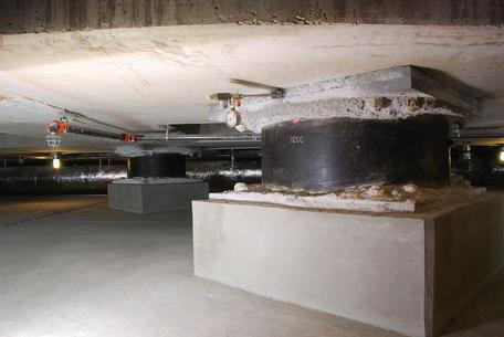 The base isolators under the Utah State Capitol building.