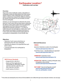 Earthquake Location activity page 1 preview