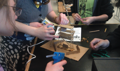 Students building a TVES