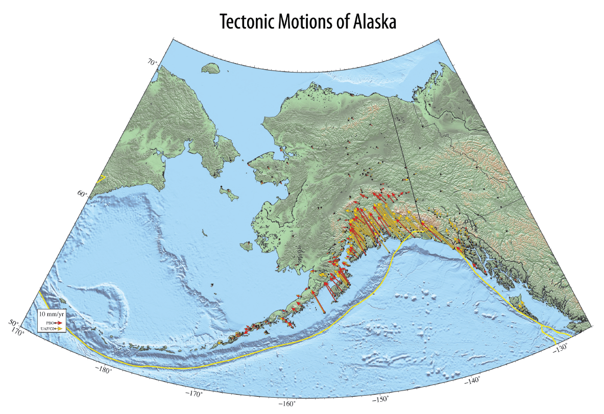 Exploring Tectonic Motions of Alaska & Western United States on map of eklutna alaska, map of copper center alaska, map of yentna river alaska, map of port lions alaska, map of prospect creek alaska, map of gambell alaska, map of anvik alaska, map of tazlina alaska, full map of alaska, map of iliamna alaska, map of caswell alaska, map of new stuyahok alaska, map of arctic village alaska, map of the state of alaska, map of savoonga alaska, map of campbell creek alaska, map of hooper bay alaska, map of russian river alaska, map of chignik alaska, map of noorvik alaska,