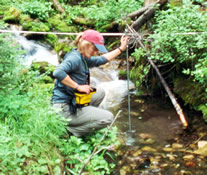 A student measuring stream discharge