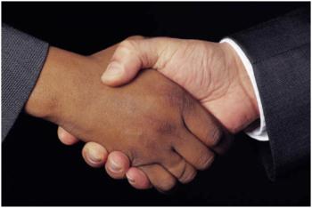 Illustration of a handshake by Karen Grant