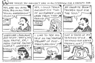 What not to say in an academic job interview cartoon