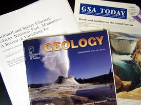 Photo of a few geoscience journal covers