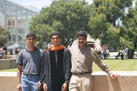 Dr. Shankar Govindaraju with his brothers, the day he received his PhD.