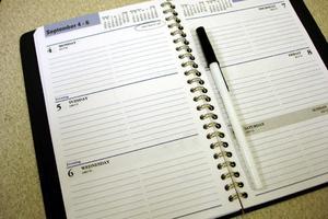 weekly desk planner, blank