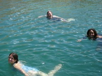 Workshop participants swim in Lake Mead