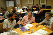 Small group discussion at course design workshop