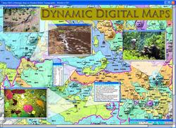 An example of a dynamic digital map, including overlays of photographs and data